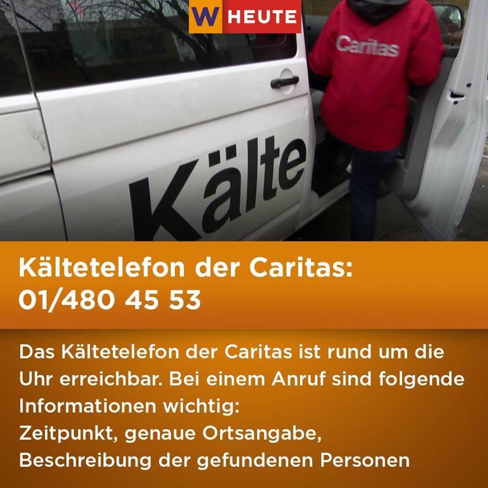 Kältetelefon der Caritas Wien 2017